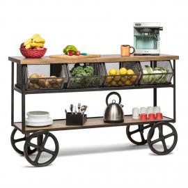 Kitchen Island Wooden Iron Trolley with 4 Basket Storage