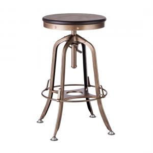 Industrial Iron Bar Stool with Wood Top – French Brass