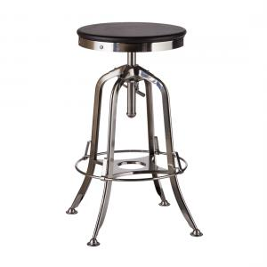 Industrial Iron Bar Stool with Wood Top –  Nickel Black